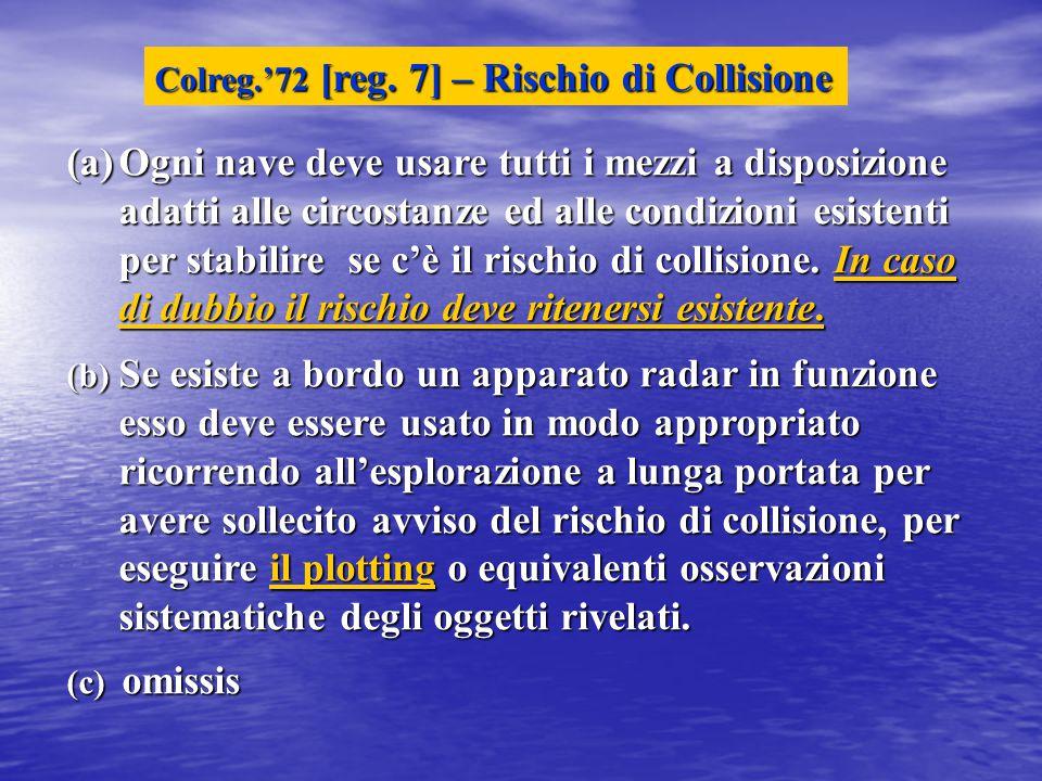 Colreg.'72 [reg. 7] – Rischio di Collisione